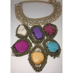 Gold Plated Choker Bib W/ BLING & Druze Crystal