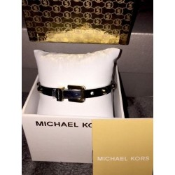 NEW! MICHAEL KORS BRACELET Gold Silver NailHead Bangle Buckle Logo Belt Grommet