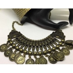 NEW STATEMENT COINS GEM NECKLACE TRIBAL GYPSY MOROCCAN BRASS EGYPTIAN CHOKER BIB
