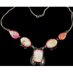 NECKLACE 925 STERLING SILVER PINK DICHROIC GLASS 20""