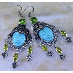 MOROCCAN GODDESS EARRINGS 925 STERLING SILVER W/TURQUOISE CITRINE PERIDOT 3 1/4""