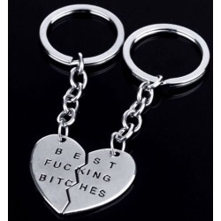 Silver Plated - BEST FU*KING BITCHES BFF HEART SHAPED 2 SPLIT KEYCHAINS