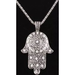 "22""TIBETAN SILVER CHAIN NECKLACE GOOD LUCK HASMA PENDANT HAND GEMS BLING Plam"