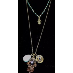 HASMA HAND EYE TURQUOISE MULTI LAYER CHAIN NECKLACE CHOKER CHARMS GOOD LUCK GOLD
