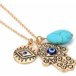 MULTI LAYERED NECKLACE CHARMS HASMA HAND EVILEYE GOODLUCK SUN TURQUOISE GOLD PL