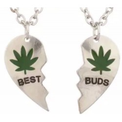Best Buds Forever BFF Best Friends Heart Necklaces W/ Pot Leaf