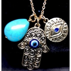 NEW! MULTI LAYERED GP CHAIN NECKLACE BIB HASMA HAND EYE CHOKER CHARMS TURQUOISE