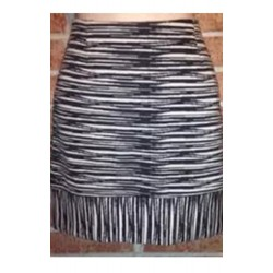 TRINA TURK SIZE 10 FABULOUS FRINGE ILLUSION MINI SKIRT BLACK BEIGE STRIPES