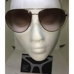 NEW!PRADA SUNGLASSES BEIGE PLASTIC TEMPLES WITH CLASSIC TRIANGLE LOGO GOLD FRAME