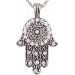 "TIBETAN STER SILVER 22""NECKLACE CHAIN HASMA HAND CRYSTALS GOODLUCK LARGE PENDANT"